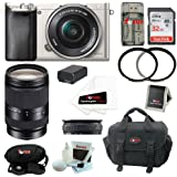 Sony ILCE6000L/S ILCE6000LS ILCE-6000LS Alpha A6000 Mirrorless Digital Camera w/ 16-50mm Lens (Silver) + Sony 18-200mm F3.5-6.3 E-Mount Lens + 32GB Memory Card + Battery + Deluxe Accessory Kit