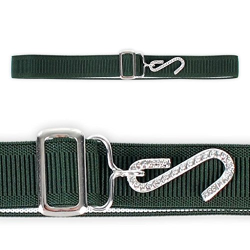 Adams Green Belt (Elastic Stretchy S Hook Childrens Belt Accessory Boys Girls Metal Clip Made in)