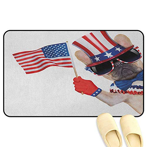 homecoco 4th of July Patio mat Pug Dog Wearing Patriotic Accessories and Waving The Flag Celebration Image Multicolor 3D Digital Printing Mat W24 x L35 INCH