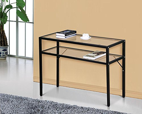 World Pride Modern Glass Sofa Console Table with Black Metal Shelf (Black Metal Sofa Table)