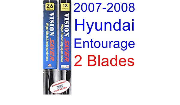 Amazon.com: 2007-2008 Hyundai Entourage Replacement Wiper Blade Set/Kit (Set of 2 Blades) (Saver Automotive Products-Vision Saver): Automotive