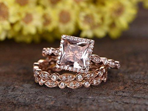 (3pcs Diamond Rings Set, 8mm Princess Cut VS Pink Morganite Solid 14k Rose Gold Ball Prong Halo Bridal Engagement Ring Full Eternity Marquise Milgrain Art Deco Wedding Band Sets)