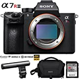 Sony a7R III 42.4MP Full-frame Mirrorless Interchangeable Lens Camera Body + 64GB Memory & Flash a7RIII Accessory Bundle (128GB Gun Zoom Mic Kit)