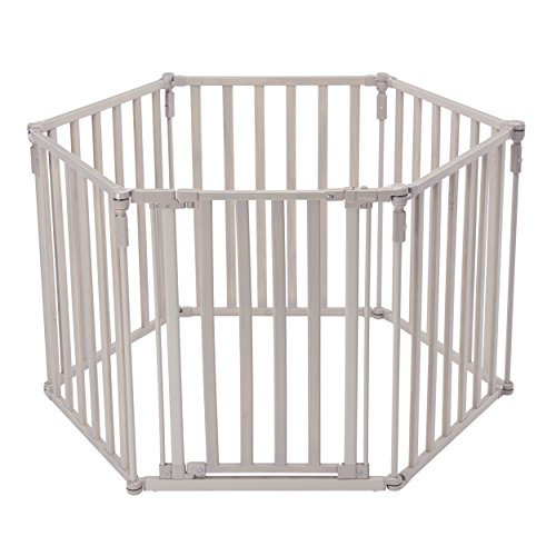 North States Industries Superyard 3 in 1 Extra Wide Gated Wood Barrier, Light Grey, 151'' wide by North States Industries