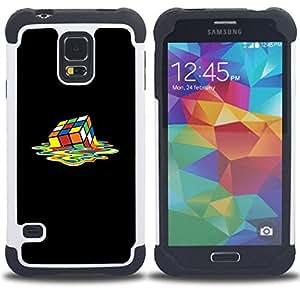 - rubiks cube art colorful square melting/ H??brido 3in1 Deluxe Impreso duro Soft Alto Impacto caja de la armadura Defender - SHIMIN CAO - For Samsung Galaxy S5 I9600 G9009 G9008V