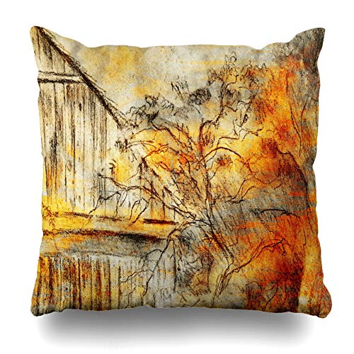 Ahawoso Throw Pillow Cover Picturesque Antique Cottage Hand Drawing Wild Grapevine Draving Pencil On Old Ancient Nature Decorative Zipper Cushion Case Square 18