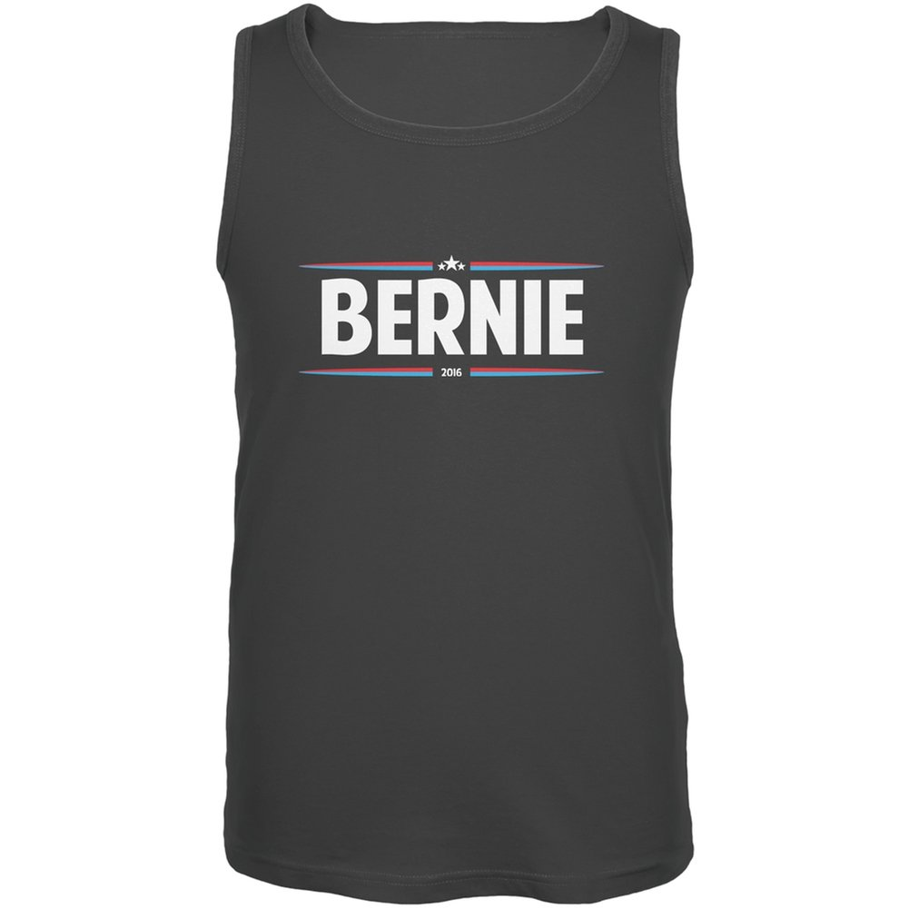 Old Glory Election 2020 Bernie Thin Stripes Charcoal Grey Adult Tank Top