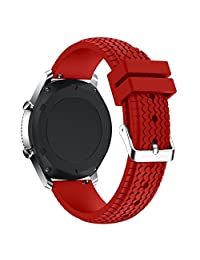 Classic Silicone Replacement Sport Strap for Samsung Gear S3 by D.B.MOOD Red