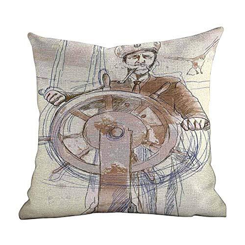 Matt Flowe Outdoor Pillow Cases,Nautical Decor,Sea Captain The Leader Seaman Sketch Navigate Navy Classical Flying Bird,Decorative Square Accent Pillow Case18 x18