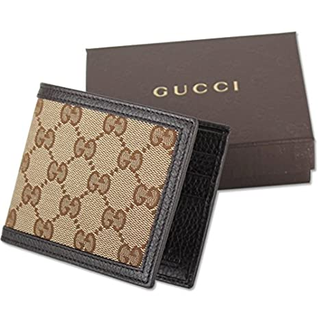 c0cdafcd08a Gucci Original GG Canvas Leather Men s Bifold Wallet 260987 9903 Brown Beige   Amazon.co.uk  Clothing