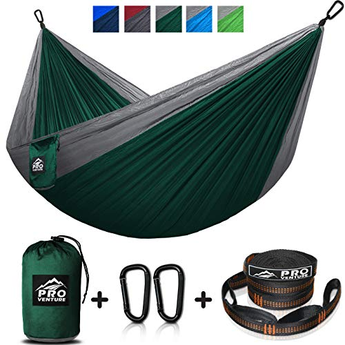 Double and Single Camping Hammocks - Hammock with Free Premium Straps & Carabiners - Lightweight and Compact Parachute Nylon. Backpacker Approved and Ready for Adventure! ()