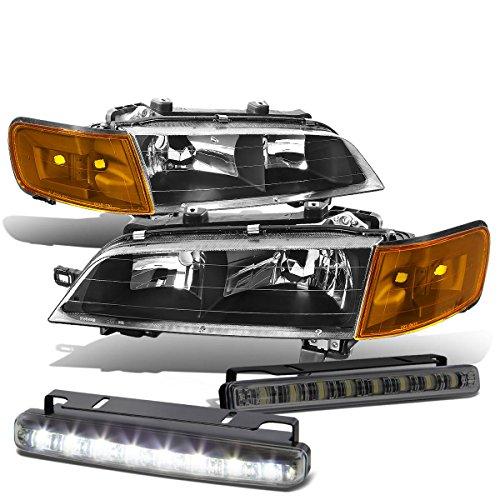 Honda Accord 5th Gen Black Housing Amber Corner Headlight+Smoked DRL 8 LED Fog Light