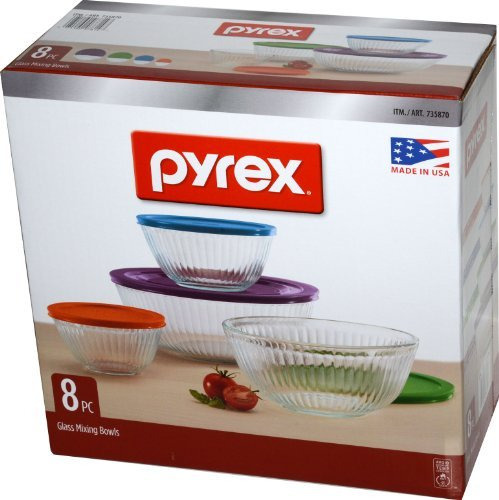Pyrex 8 Piece Ribbed Bowl (4) Set Including Assorted Colored Locking Lids (Ribbed) by Pyrex