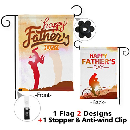 Snapmade Premium Happy Fathers Day Garden Flag with Two Nice Designs Double Sided & Garden Flag Stopper & Anti-wind Clip 12 x 18 Fathers Day Gift Yard Flag