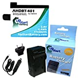 GoPro Hero4 Black Battery and Charger with EU Adapter - Replacement for GoPro Hero4 Digital Camera Batteries and Chargers (1160mAh, 3.8V, Lithium-Ion)