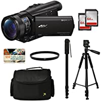 Sony FDR-AX100 4K Ultra HD Camcorder Video Camera Kit, 128GB Memory + Tripod + Monopod + Bag + UV Filter