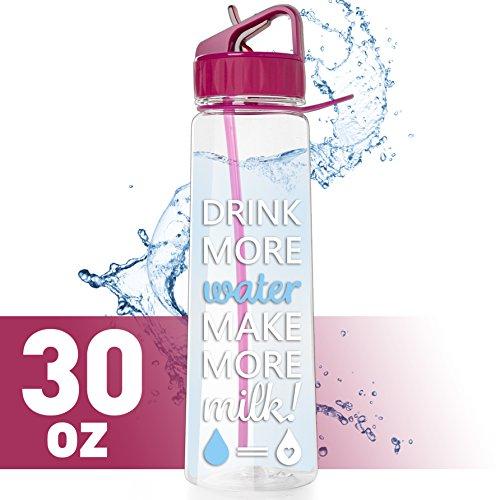 vBU Water Bottle for Breastfeeding Moms 30 oz Goal Marked Time Water Tracker Measure Water Intake Daily from vBU