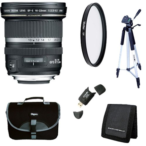 Canon EF-S 10-22mm f/3.5-4.5 USM SLR Lens for EOS Digital SLRs w/ 77mm Multicoated UV Protective Filter, Deluxe Bag, Memory Card Wallet, USB 2.0 Card Reader, Professional Tripod by Canon