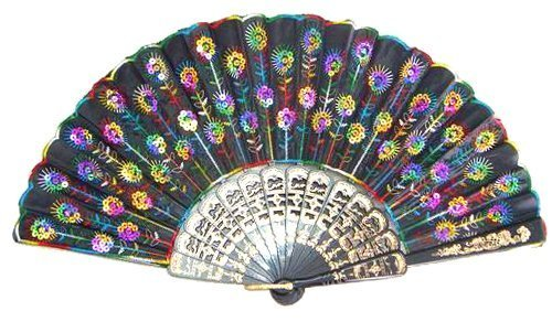 Liroyal Peacock Pattern Sequin Fabric Hand Fan Decorative Fashionable (Rainbow Fan)