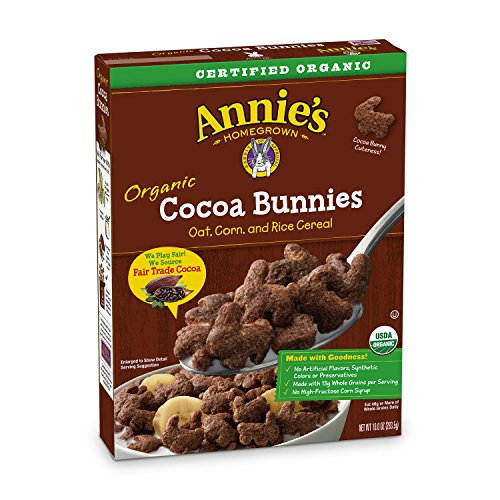 - Annie's Organic Cereal, Cocoa Bunnies, Oat, Corn, Rice Cereal, 10.8 oz (Pack of 10)