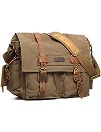05a4bd99e979 Leather Canvas Camera Bag Vintage DSLR SLR Messenger Shoulder Bag