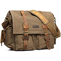 Kattee Mens Canvas Leather DSLR SLR Vintage Camera Messenger Bag