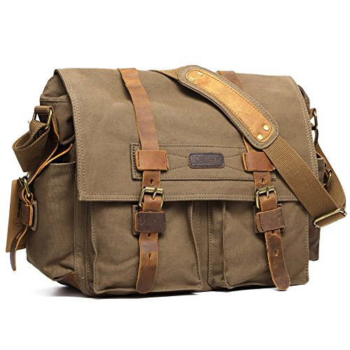 Kattee Men's Canvas Cow Leather DSLR SLR Vintage Camera Shoulder Messenger Bag Army Green (Bag Gadget Olympus)