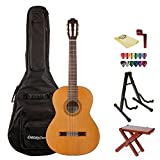 Cordoba C3M Acoustic Guitar with Wood Foot Stool, ChromaCast Gig Bag, Stand, String Winder, 12 Pick Sampler and Polishing Cloth