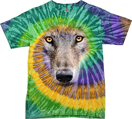 (Mens Big Wolf Face Tie Dye T-Shirt, Mardi Gras,)