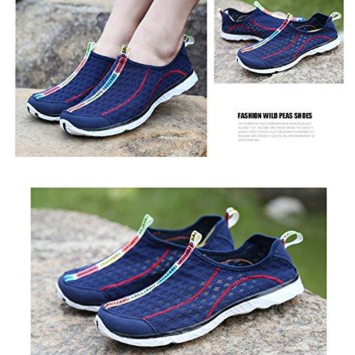SAGUARO® Hombres mujeres Resbalón respirable en los zapatos de malla de agua Azul profundo