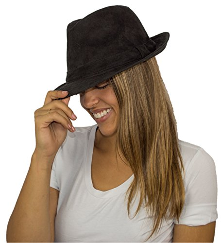 [Premium Solid Color Black Classic Wool Fedora Winter Hat with Suede Feel] (Stickman Light Costume)