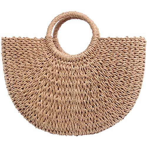 Women Straw Bag Weave Handbags Handwoven for Girls Fashion Tote ()