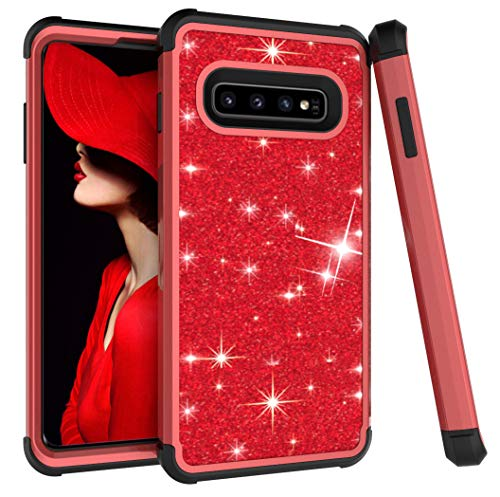- Galaxy S10 Plus Case, Ankoe 3D Luxury Glitter Sparkle Bling Shiny Hybrid Sturdy Armor Defender High Impact Shockproof Protective Cover Case Compatible with Samsung Galaxy S10 Plus 2019 (Red+Black)