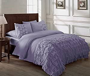 Chezmoi Collection Ella 2-piece Ruffle Comforter Set Queen, Lilac