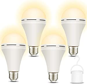 4 Pack Emergency-Light-Bulb-Rechargeable, 3000K Soft White LED Light Bulbs with Battery Backup, Stay Lighting When Power Failure, 1200mAh 15W 80W Equivalent LED Light Bulb for Home Emergency Lighting
