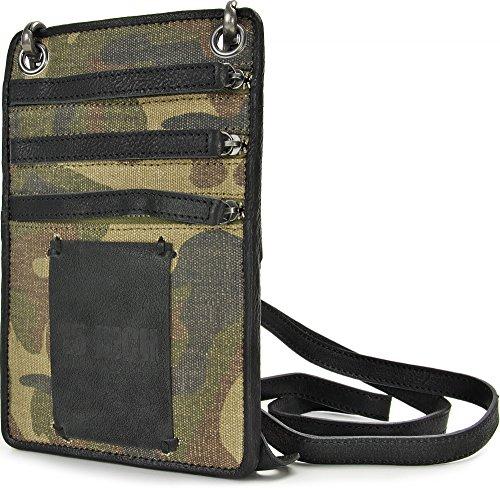 15 Inch by Jerome Westford, Borsa a tracolla, Mini Messenger, sotto la giacca, pelle e tela, camouflage, camuffare, verde, cachi, 13 x 19,5 cm