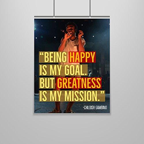 Childish Gambino Quote Poster - 16 x 20 - Hip Hop - Motivational - Inspirational - Growth Mindset - Dorm Room Decor - School Poster - Classroom Poster - Teen Room - Dorm Wall Art