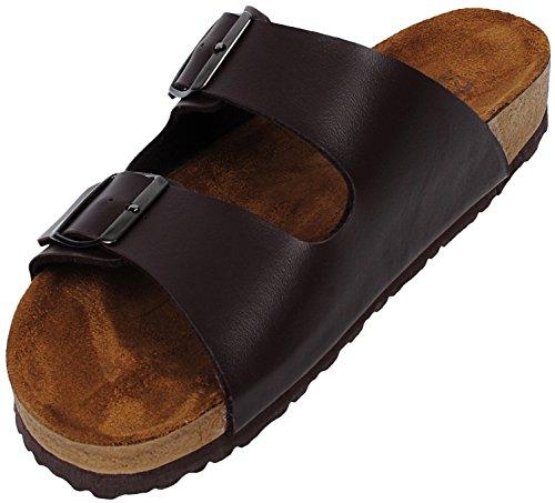 Angel Cola Men's Two Strap Soft Footbed Sandal Brown 10.5