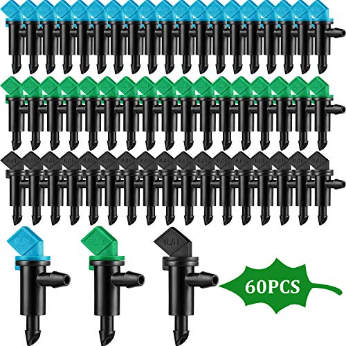 Mudder 60 Pieces Drip Emitter Garden Flag Irrigation Dripper in 3 Sizes, Trees and Shrubs, 1 GPH, 2 GPH, 4 GPH
