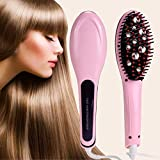 Shreeji Ethnic 2 In 1 Qualimate Ceramic Hair Straightener Fast Detangling Massage Electric Comb Styling Brush with Digital Temperature Control Display