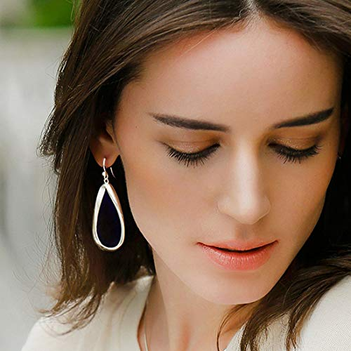 SA SILVERAGE 925 Sterling Silver Twisted Hoop Earrings Oval Round Dangle Teardrop Earrings For Women (With Blue Velvet Bag)