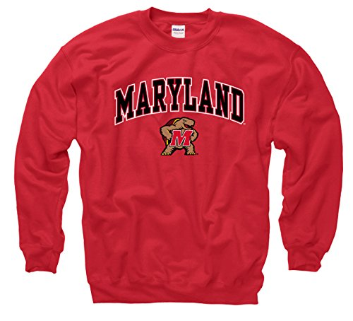 Campus Colors Maryland Terrapins Adult Arch & Logo Gameday Crewneck Sweatshirt - Red, X-Large