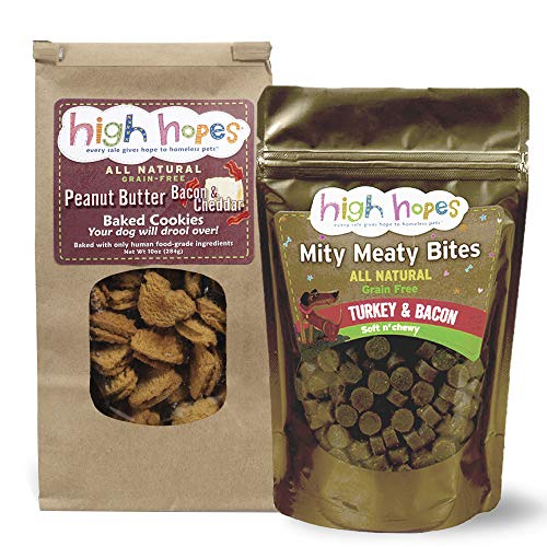 (High Hopes Bacon Lovers Variety Pack, Two Flavors (Peanut Butter, Bacon and Cheddar; Turkey and Bacon), All Natural and Grain Free Dog Treats, Every Sale Gives Hope to Homeless Pets)