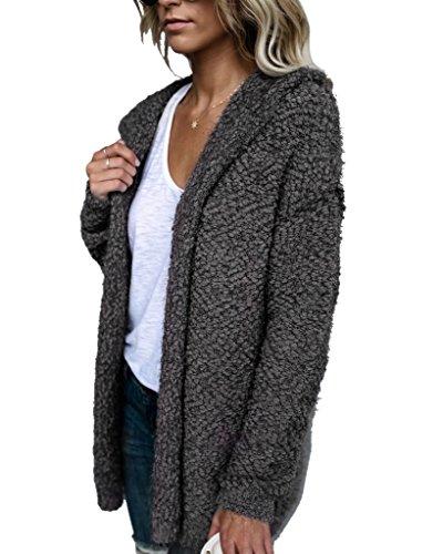Faux Fur Hoody Hoodie Sweater - Mintsnow Women Faux Fur Hoodie Knit Long Sleeve Cardigan Sweaters Outerwear With Pocket, Dark Grey, X-Large