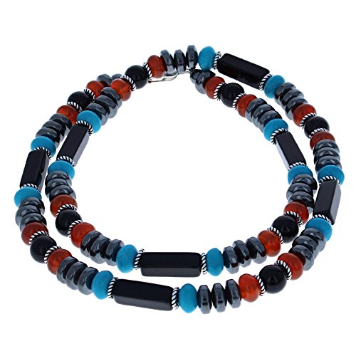 Black Onyx, Turquoise Magnesite, Carnelian, Hematite (Hemalyke) & Sterling Men's Beaded Necklace - - Onyx Turquoise Black