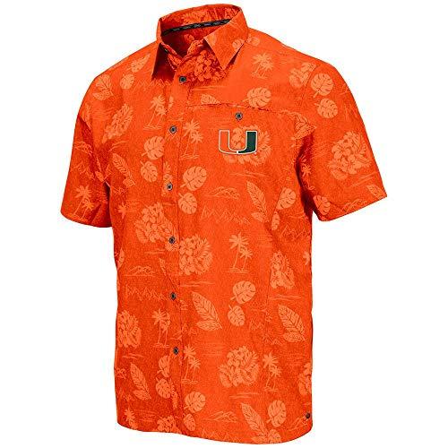 Colosseum Mens Miami Hurricanes Honolulu Camp Shirt - L