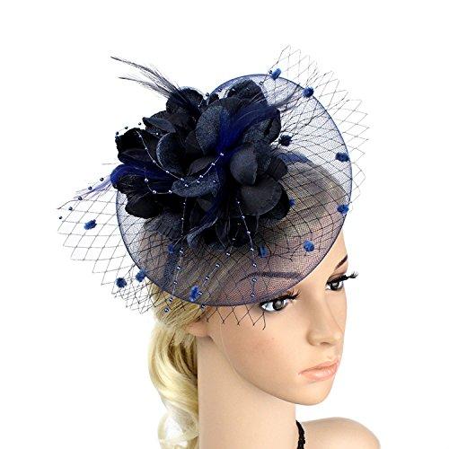 Meiliy Sinamay Fascinator Hat with Headband Mesh Feather