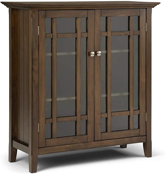 Simpli Home Bedford Solid Wood 32 inch Wide Rustic Low Storage Media Cabinet in Rustic Natural Aged Brown