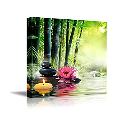 Canvas Wall Art - Massage in Nature - Lily, Stones, Bamboo - Zen Concept | Modern Home Art Canvas Prints Giclee Printing Wrapped & Ready to Hang - 16