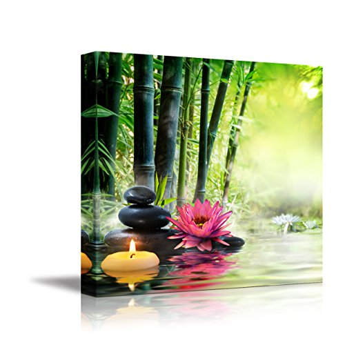 Canvas Wall Art - Massage in Nature - Lily, Stones, Bamboo - Zen Concept | Modern Home Decor Canvas Prints Giclee Printing Wrapped & Ready to Hang - 12